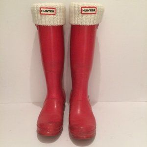 Red Matte HUNTER Boots size 7